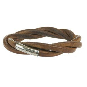 HERMES Logo Twist Thick Bracelet Bangle Leather Brown Silver Accessory 01JE083